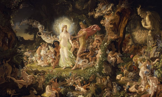 I folletti irlandesi sono stati ripresi anche da Shakespear. Qui il quadro The Quarrel of Oberon and Titania di Sir Joseph Noel Paton (1849)
