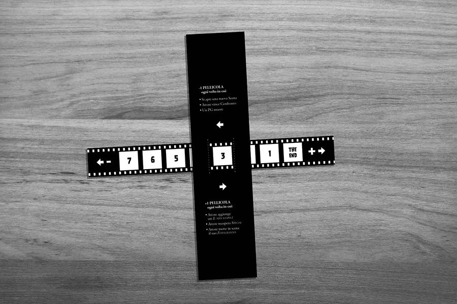 Riproduzione di una pellicola cinematografica, con 7 fotogrammi che compongono le scene del film