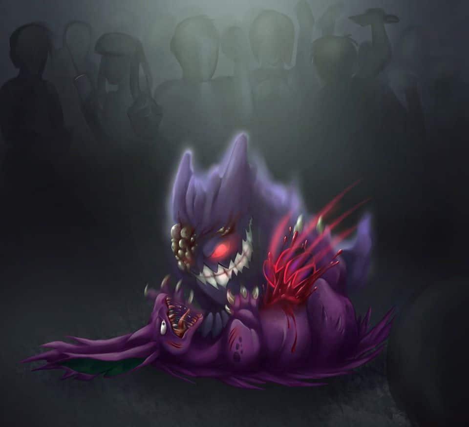 Una delle primissime immagini di Pokémon Noir: due Pokémon impegnati in una lotta clandestina all'ultimo sangue. Notare il Gengar con mutazioni