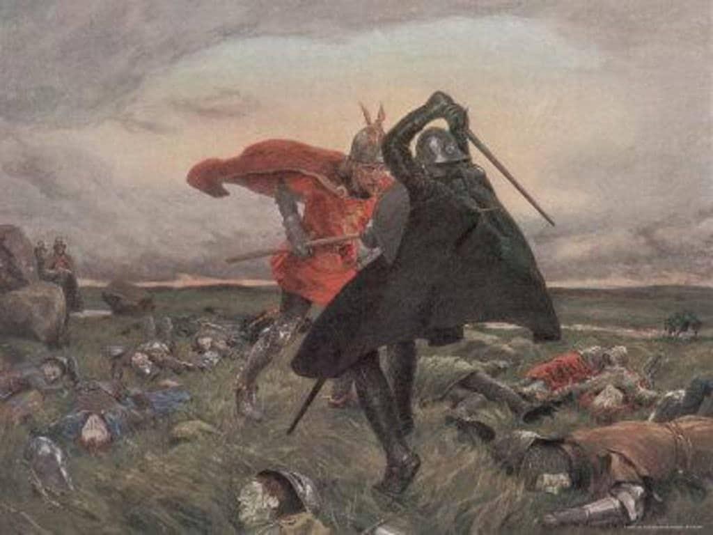 Artù e Mordred sul campo di battaglia