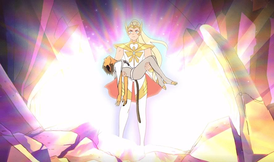 Adora che riacquisisce i poteri di She-Ra per salvare Catra