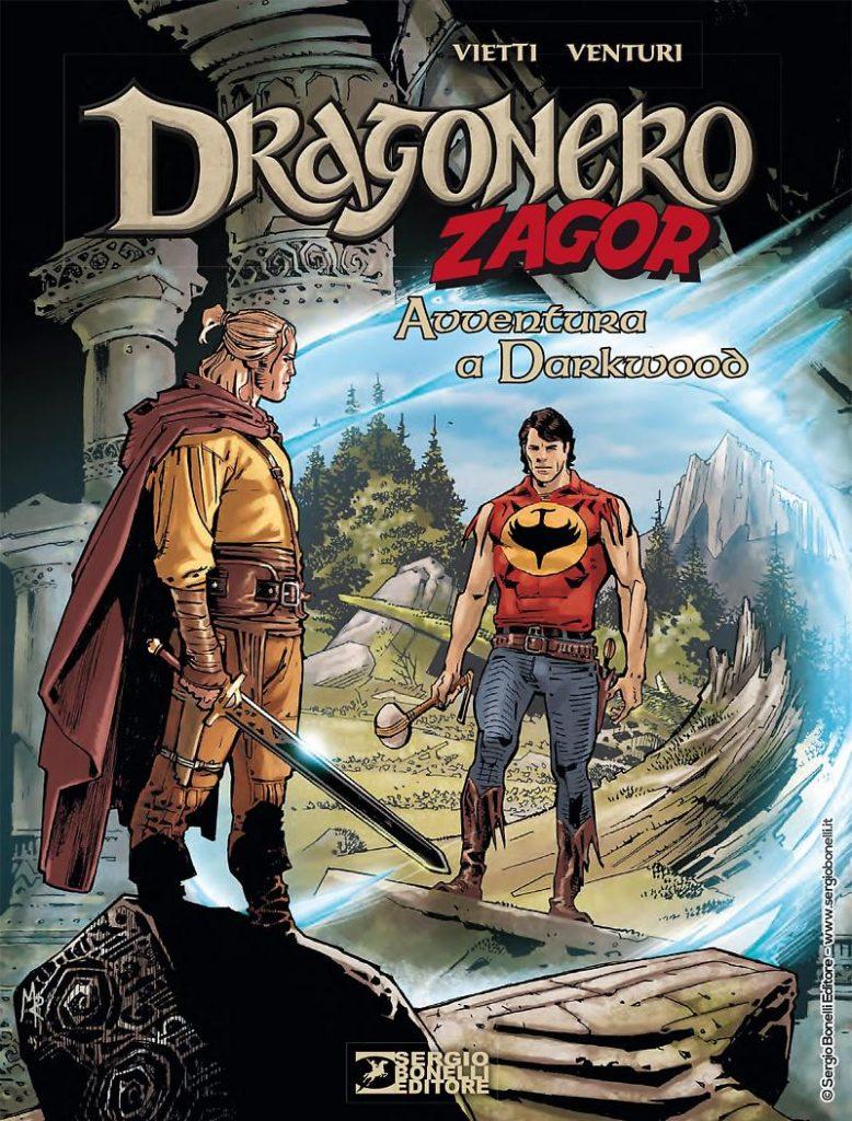 Copertina dello speciale Avventura a Darkwood dove, grazie a Il segreto degli Ubiqui, il mondo di Dragonero e di Zagor entrano in contatto