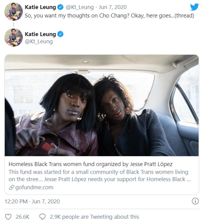 La risposta di Katie Leung, l'attrice di Cho Chang a J. K. Rowling