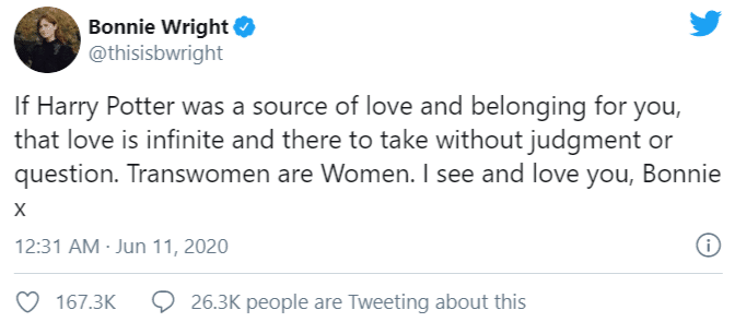 La risposta di Bonnie Wright a J. K. Rowling