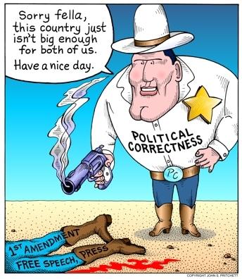 No, il politicamente corretto non lede alla libertà di espressione, a differenza di quanto sostengano certi vignettisti