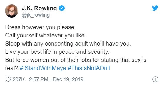 Il tweet di J. K. Rowling in supporto di Maya Forstater