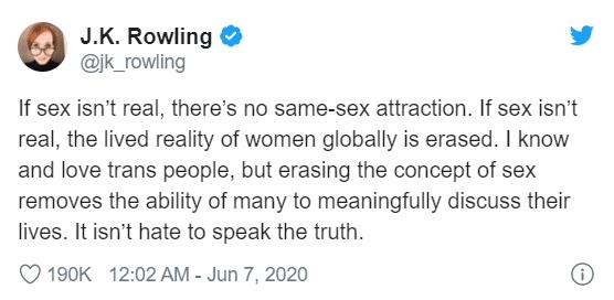 Il tweet di J. K. Rowling sull'esistenza del sesso biologico