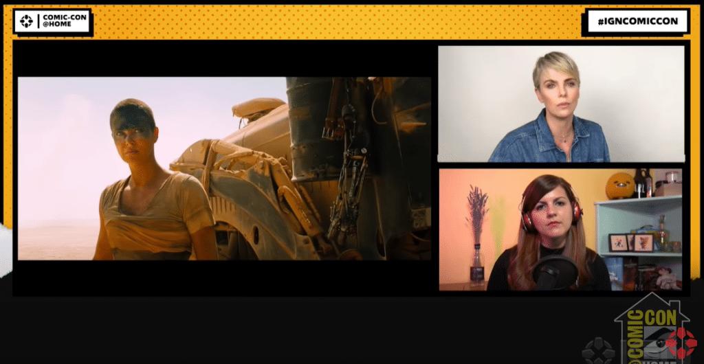 Un frame dell'interessante panel di Charlize Theron al San Diego Comic-Con Online