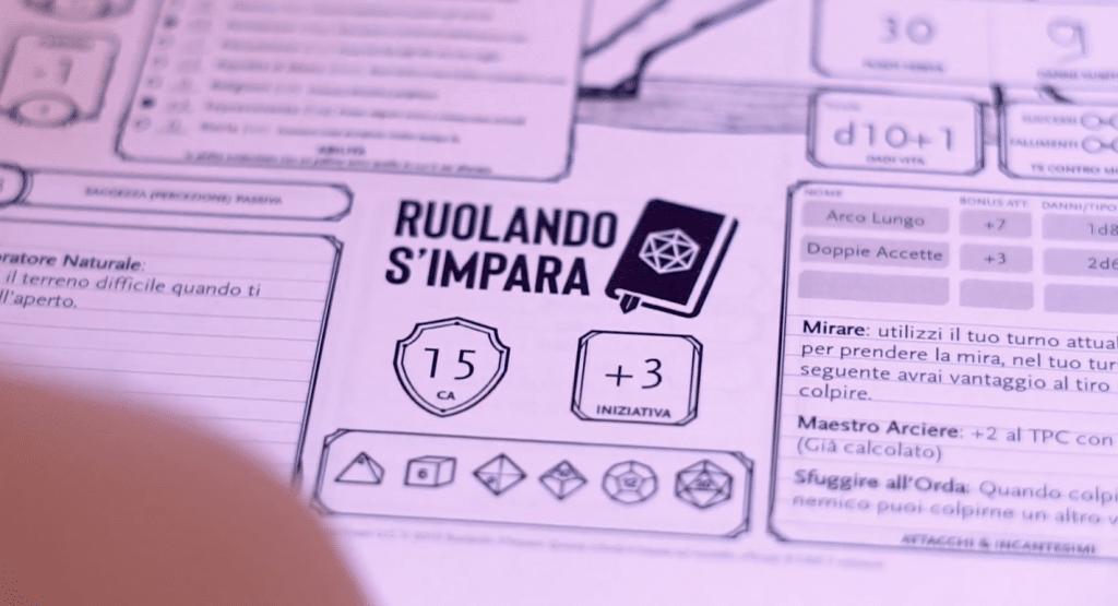 Una scheda del personaggio di Ruolando s'Impara
