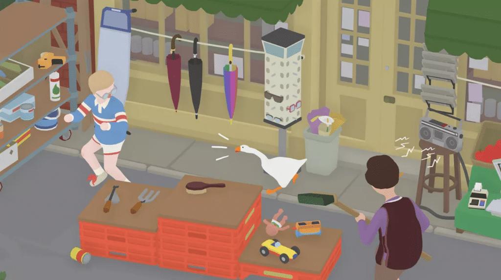 Tra le attività di Untitled Goose Game c'è anche il bullismo nei confronti di bambini con gli occhiali