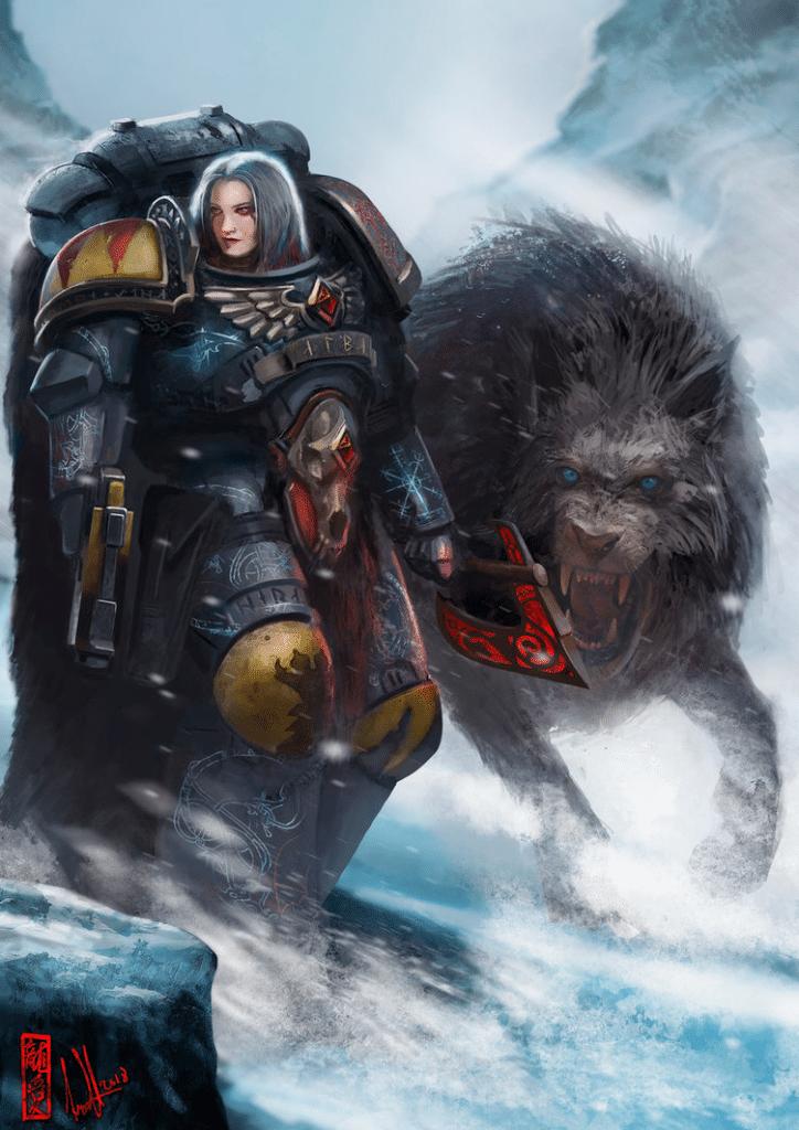 """Rappresentazione di una """"Female Space Marine"""", soldatessa degli Space Wolves, fatta da David Sondered"""