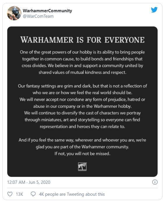 La dichiarazione della Games Workshop
