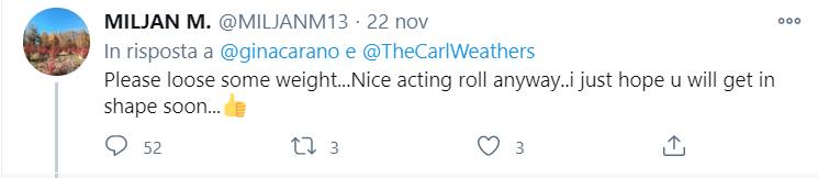 Un esempio di tweet di fat-shaming contro Gina Carano
