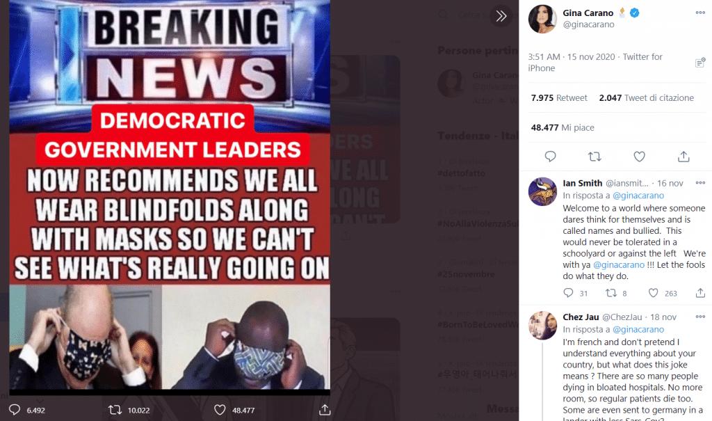 Uno dei post complottisti, no-mask e pro-Trump di Gina Carano