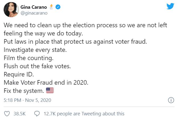 Un post complottista di Gina Carano