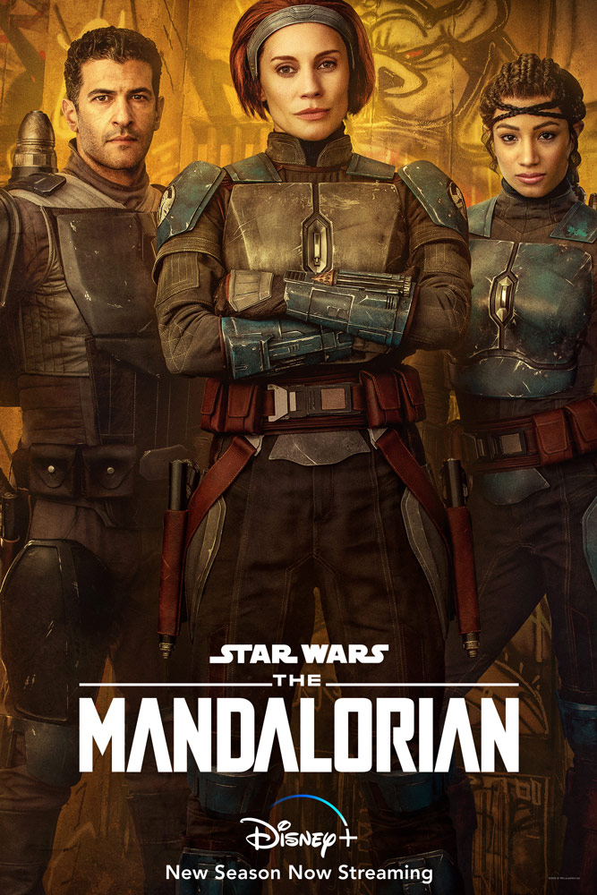 Da sinistra a destra, i/le Mandaloriani/e Axe Woves, Bo-Katan Kryze e Koska Reeves in L'Erede