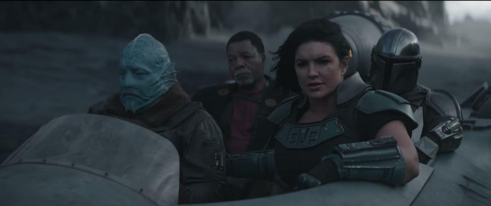 Il party di avventurieri de L'Assedio: da sinistra a destra, il Mythrol affettato, Greef Carga, Cara Dune e Mando