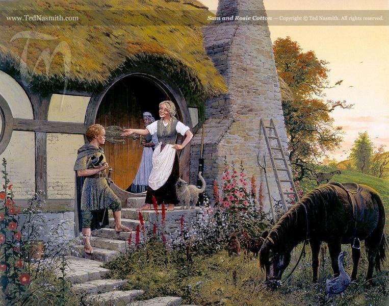 Sam Gamgee e Rosie Cotton, immaginati da Ted Nasmith. Da notare il gioco di parole Gamgee/Cotton, spiegato da Fatica in Fallire sempre meglio