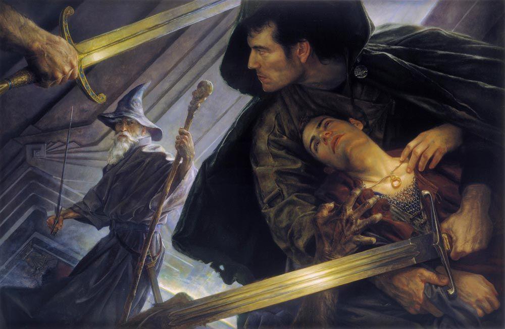 Dipinto integrale di Giancola per la copertina dell'edizione americana de Il Signore degli Anelli