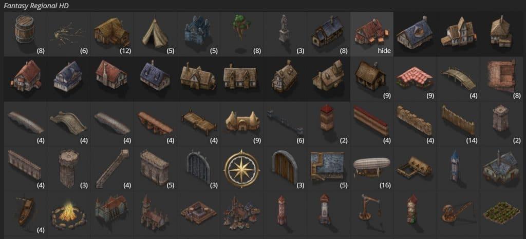 Opzioni delle mappe Fantasy Regional HD