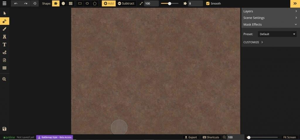 Schermata iniziale della mappa da battaglia in Inkarnate 2.0