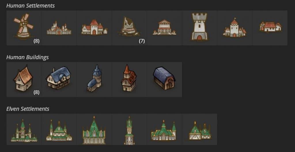 Le opzioni delle mappe Fantasy World