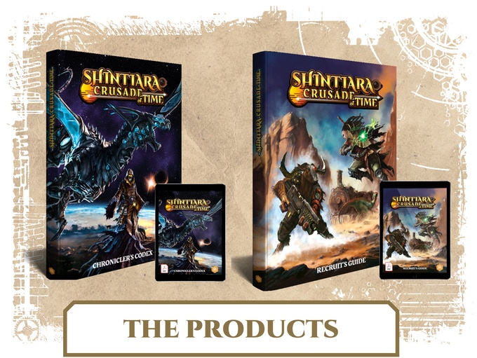Il manuale del master (Chronicler's Codex) e il manuale del giocatore (Recruit's Guide) di Shintiara