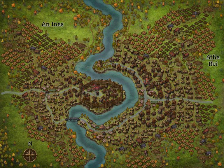 La mappa del villaggio finale ottenuta dai tutorial su fiumi, strade e villaggio in Inkarnate