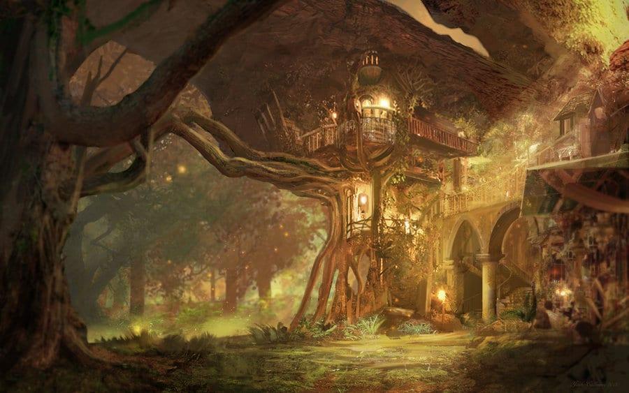 Tipica casa fantasy sull'albero