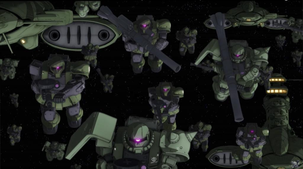 Una delle caratteristiche tipiche del genere real robot è che i mecha sono prodotti in massa, come questi mobile suit di Zeon da Mobile Suit Gundam The Origin