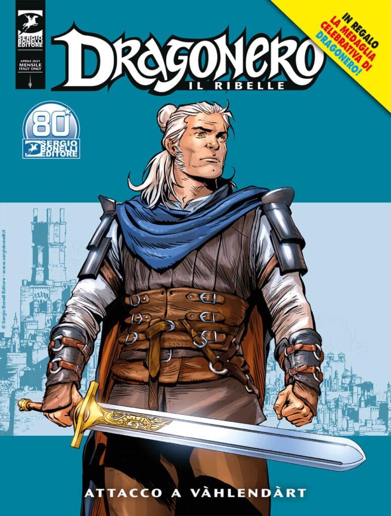 La copertina di Attacco a Vàhlendàrt ritrae Dragonero proiettato verso il futuro