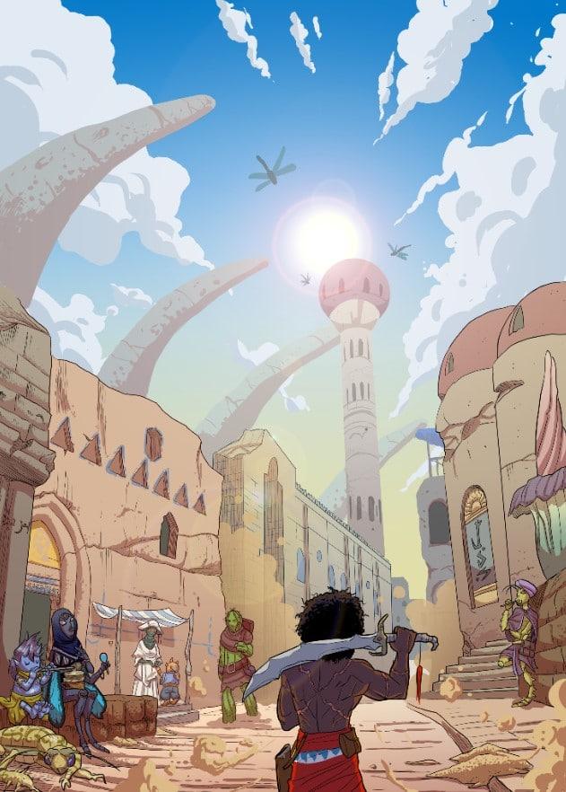 Le strade di Medulla in Silika, una delle ambientazioni di Fantasy World