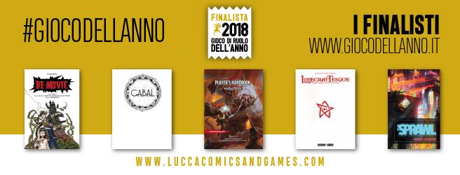 I finalisti del premio Gioco di Ruolo dell'Anno 2018. Il vincitore è stato Lovecraftesque