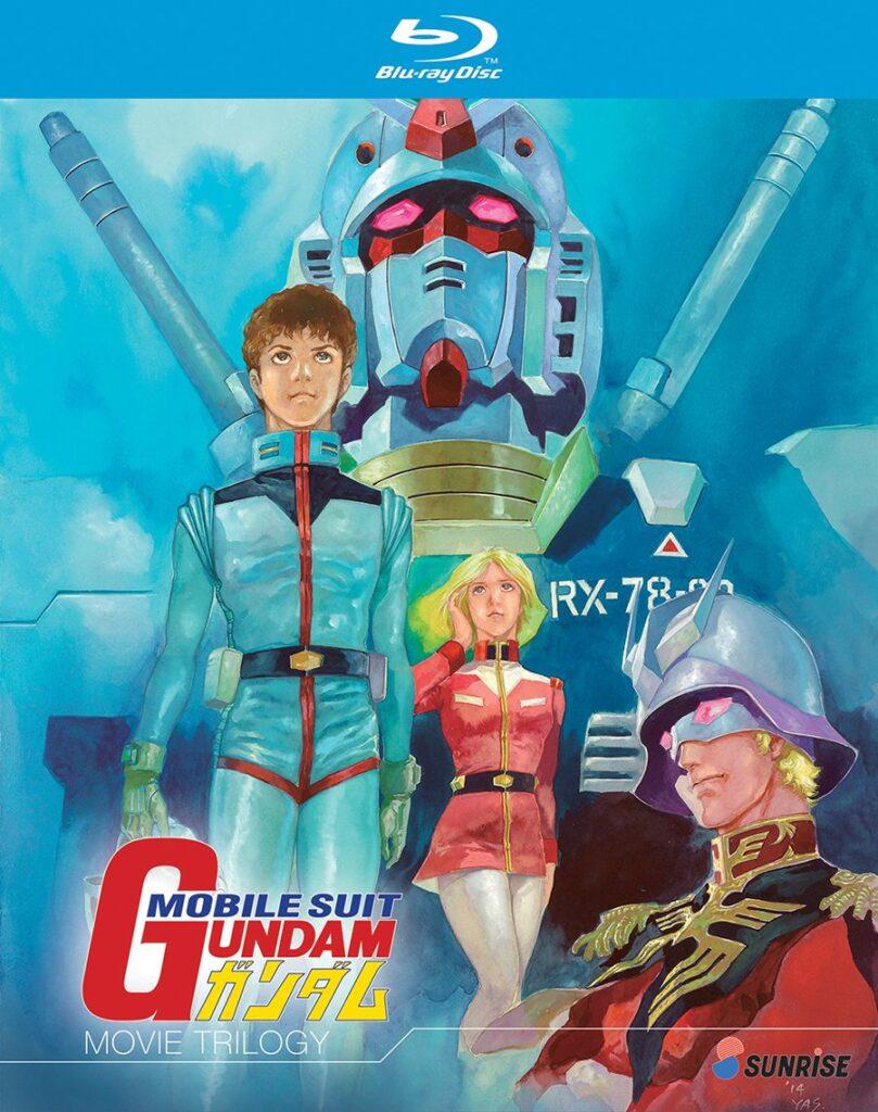 La copertina del cofanetto dei tre film riassuntivi di Mobile Suit Gundam