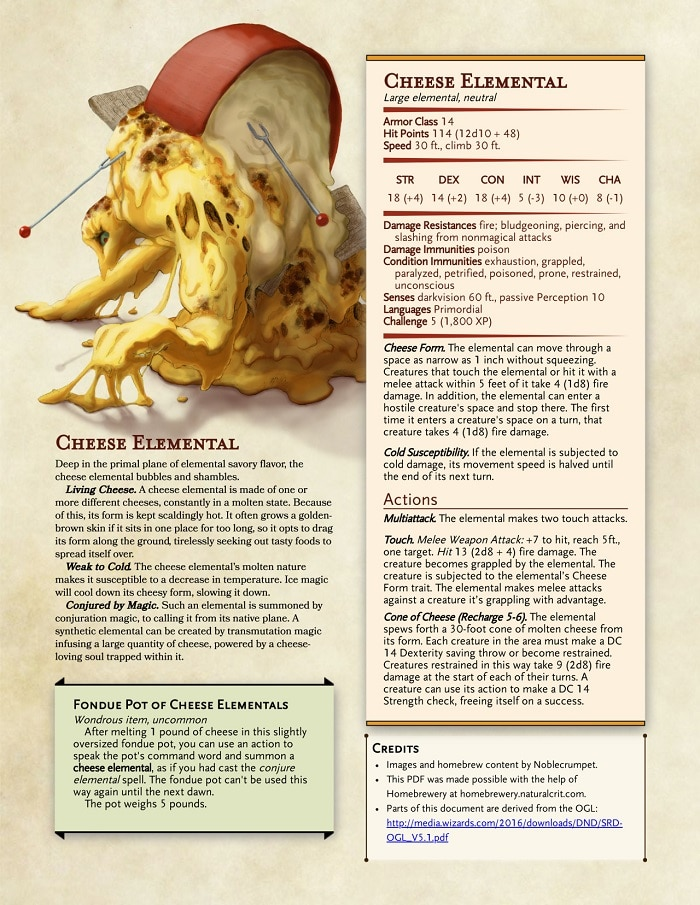 Un temibile elementale del formaggio, dall'avventura homebrew RPG Accessories: Thanksgiving Feast