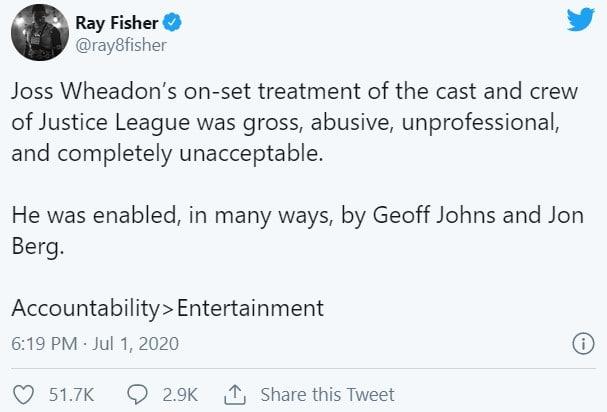 Il primo tweet di accuse a Joss Whedon, Geoff Johns e Jon Berg scritto da Ray Fisher