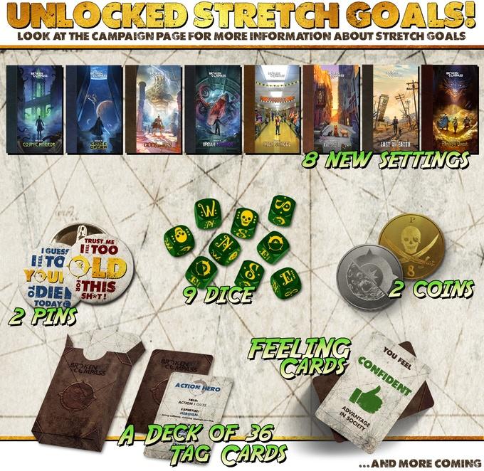 I materiali sbloccati con gli stretch goal di Broken Compass: Adventure Is Back!
