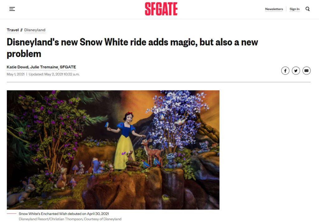 Titolo e immagine di copertina dell'articolo di SFGate che ha portato le opinioni di due giornaliste su un'attrazione su Biancaneve