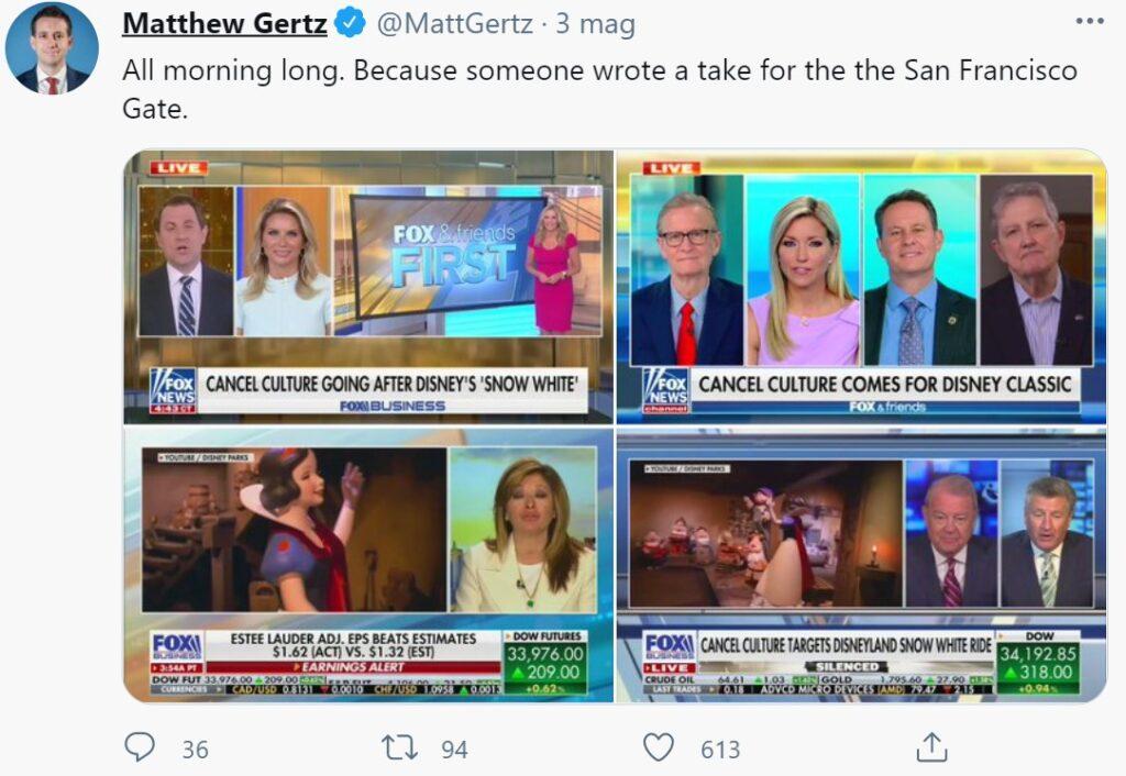 """Galleria di servizi allarmistici di Fox News su un """"attacco della cancel culture"""" a Biancaneve"""