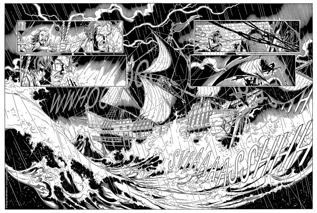 In Quando cantano le onde tutto inizia con un veliero in balia di una tempesta. un veliero che trasporta una pericolosissima Reliquia