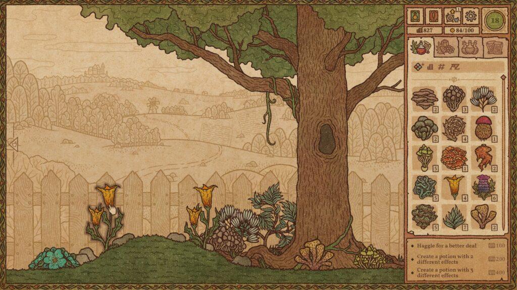 Il giardino dell'erborista in Potion Craft, con nuove erbette da raccogliere