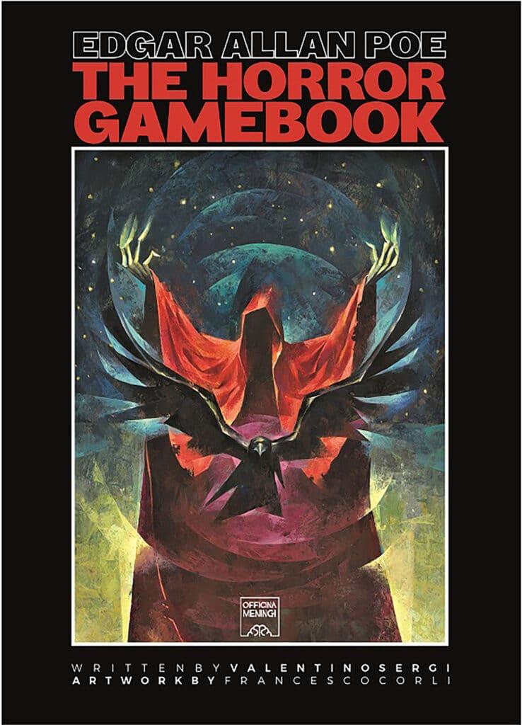 """Copertina di Edgar Allan Poe The Horror Gamebook una fusione de Il Corvo, La Maschera della Morte Rossa e un senso di """"caduta"""""""