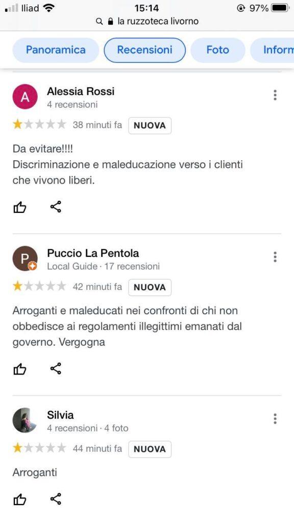 Uno degli screenshot condivisi dalla Ruzzoteca, con i commenti negativi e degradanti di chi è contrario al Green pass