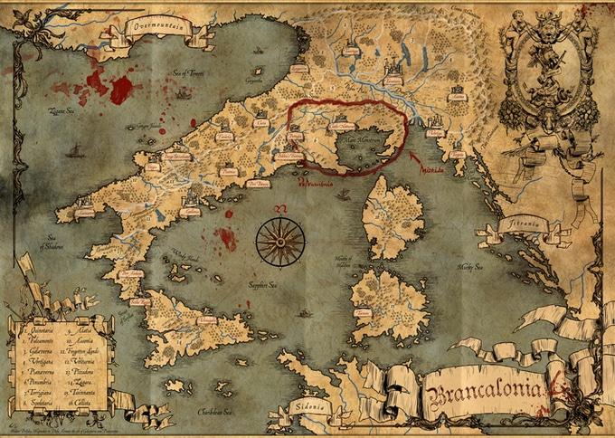 Brancalonia - The Spaghetti Fantasy la Mappa del Regno di Taglia è come il nostro stivale, ma rovesciato