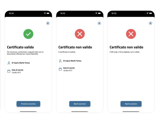 Schermate con i risultati del controllo del Green Pass, tramite l'app Verifica C19