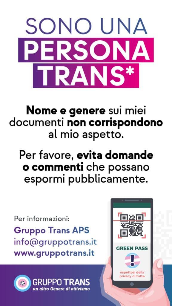 La help card di Gruppo Trans per spiegare le discrepanze fra persone trans e Green Pass