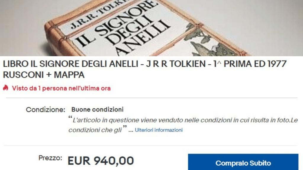 940€ per un'edizione Rusconi de Il signore degli anelli su Ebay
