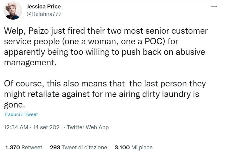 Il tweet iniziale di Jessica Price sulla Paizo