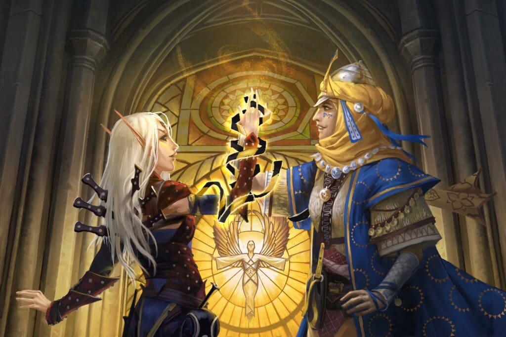 Merisiel e Kyra, ladra e chierica iconiche di Pathfinder, durante il loro matrimonio