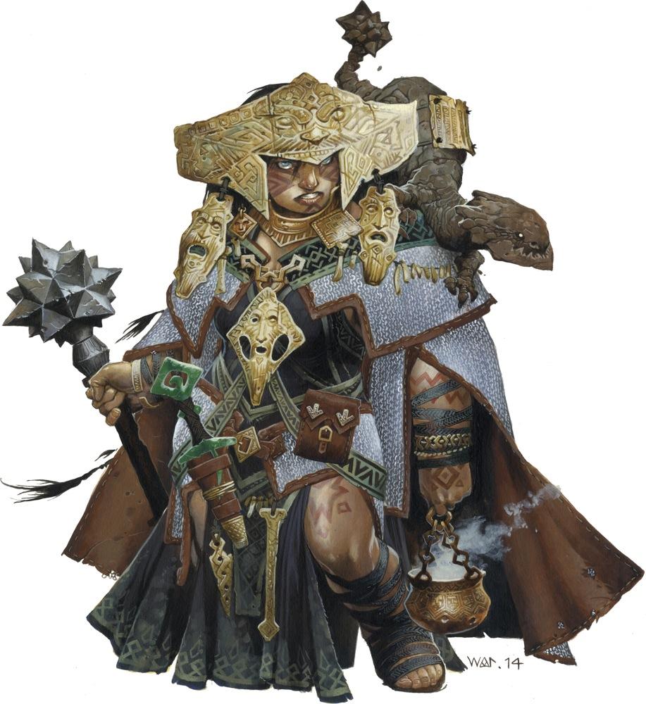 La sciamana iconica di Pathfinder, una donna transgender, il cui background è stato scritto da Crystal Frasier
